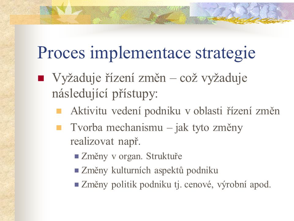 Proces implementace strategie