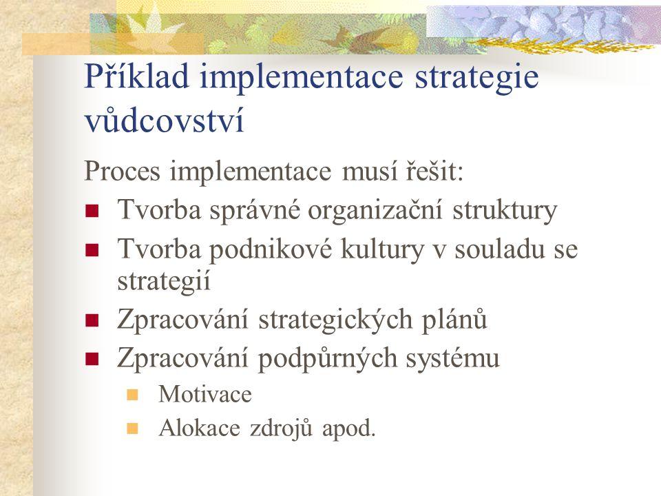 Příklad implementace strategie vůdcovství