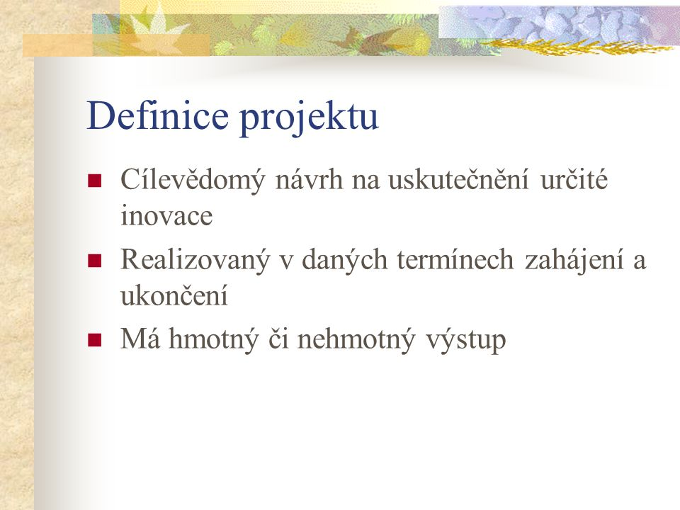 Definice projektu Cílevědomý návrh na uskutečnění určité inovace