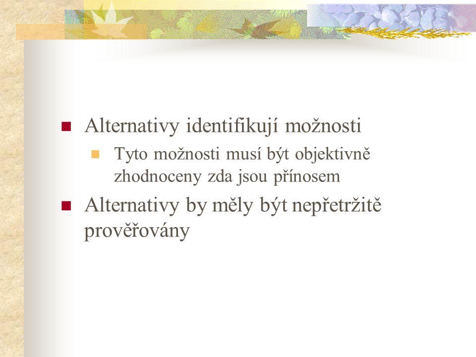 Alternativy identifikují možnosti