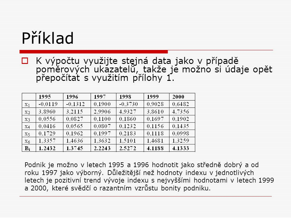 Příklad K výpočtu využijte stejná data jako v případě poměrových ukazatelů, takže je možno si údaje opět přepočítat s využitím přílohy 1.