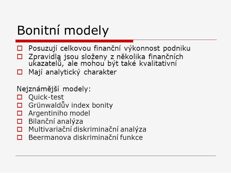 Bonitní modely Posuzují celkovou finanční výkonnost podniku