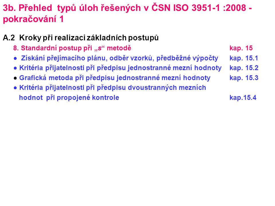 3b. Přehled typů úloh řešených v ČSN ISO 3951-1 :2008 - pokračování 1