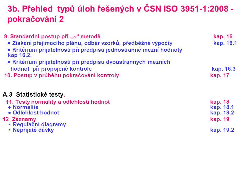 3b. Přehled typů úloh řešených v ČSN ISO 3951-1:2008 - pokračování 2