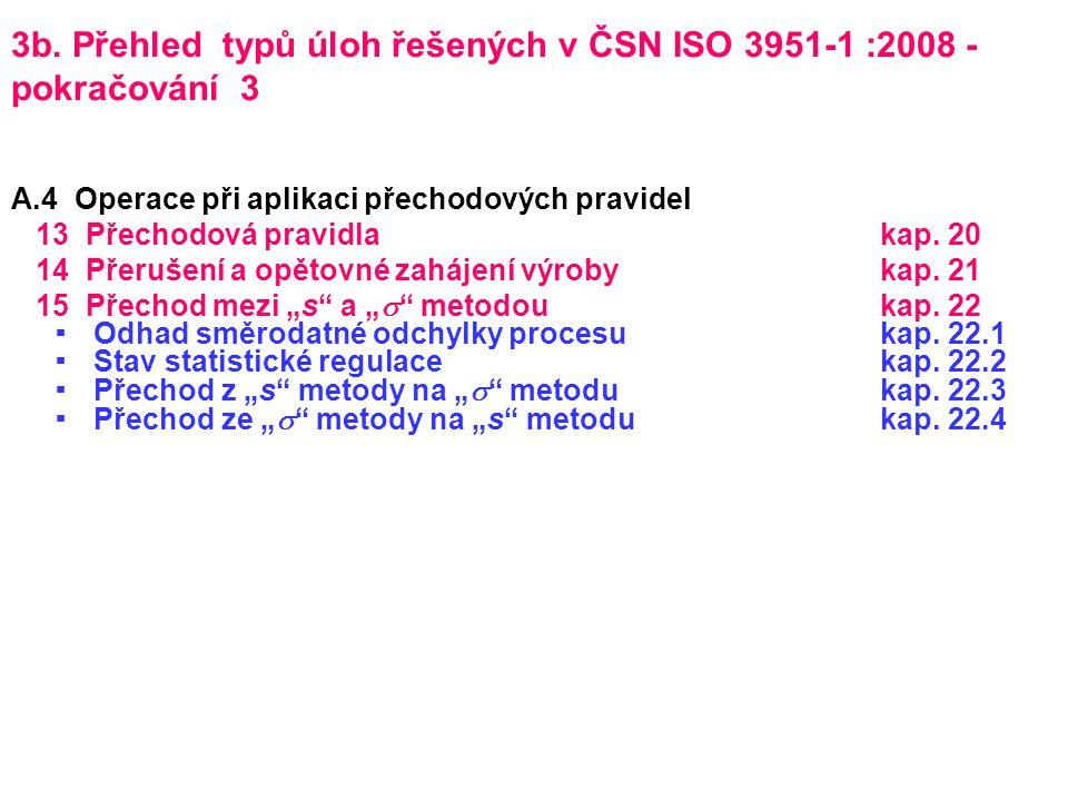 3b. Přehled typů úloh řešených v ČSN ISO 3951-1 :2008 - pokračování 3