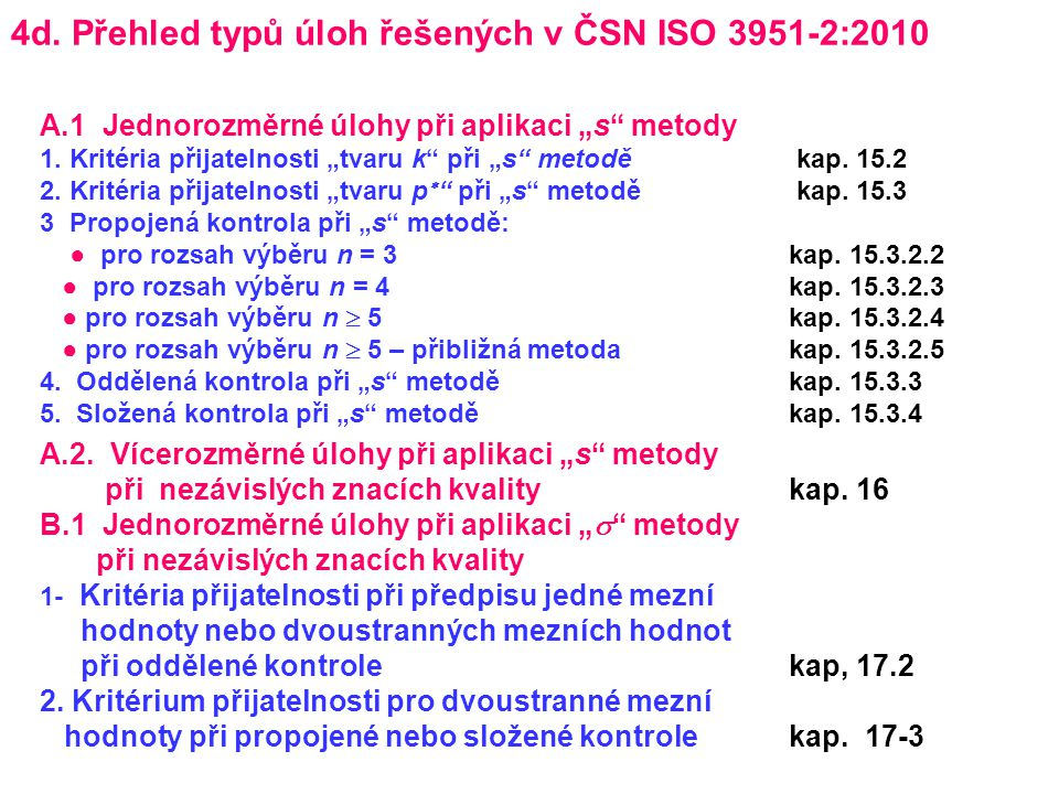 4d. Přehled typů úloh řešených v ČSN ISO 3951-2:2010