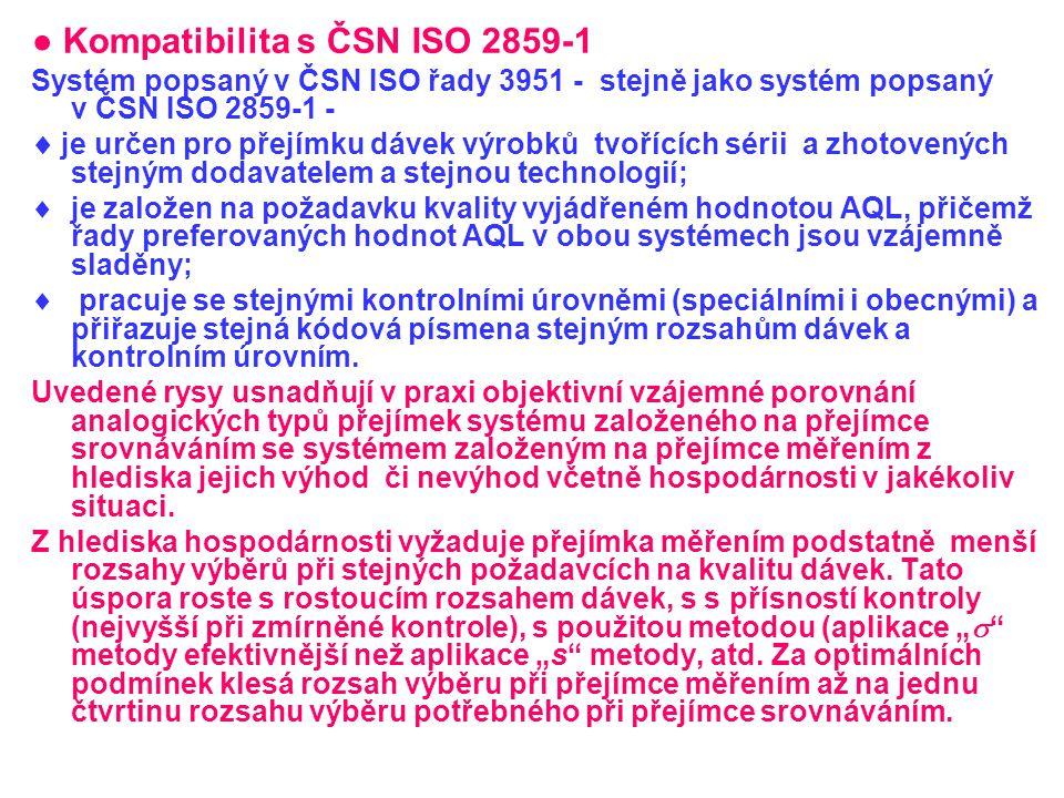 ● Kompatibilita s ČSN ISO 2859-1