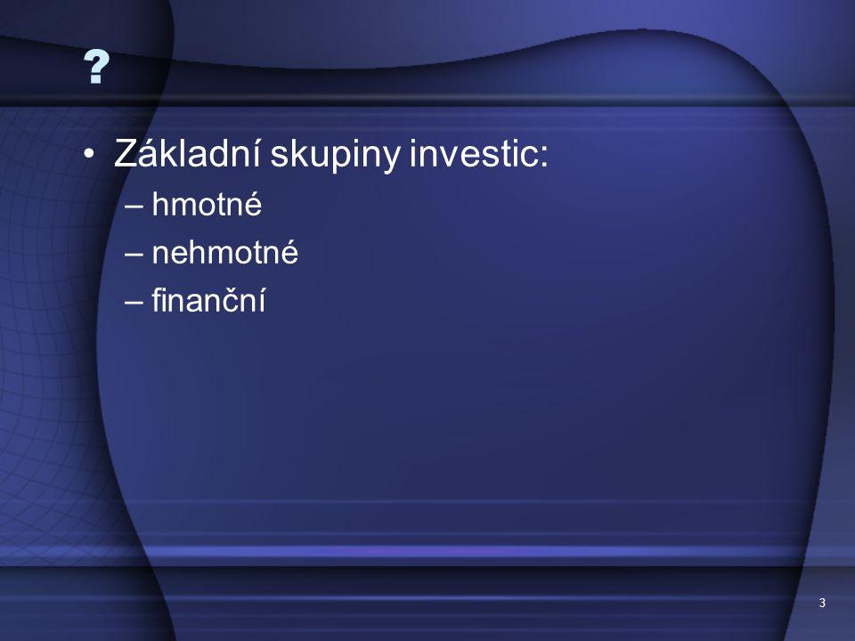 Základní skupiny investic: hmotné nehmotné finanční
