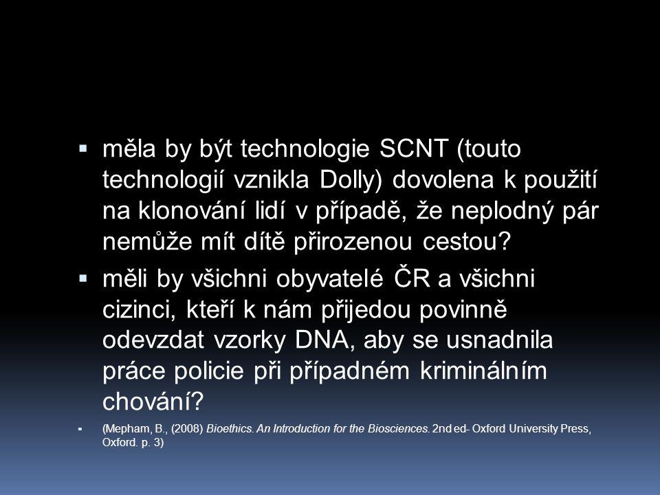 měla by být technologie SCNT (touto technologií vznikla Dolly) dovolena k použití na klonování lidí v případě, že neplodný pár nemůže mít dítě přirozenou cestou