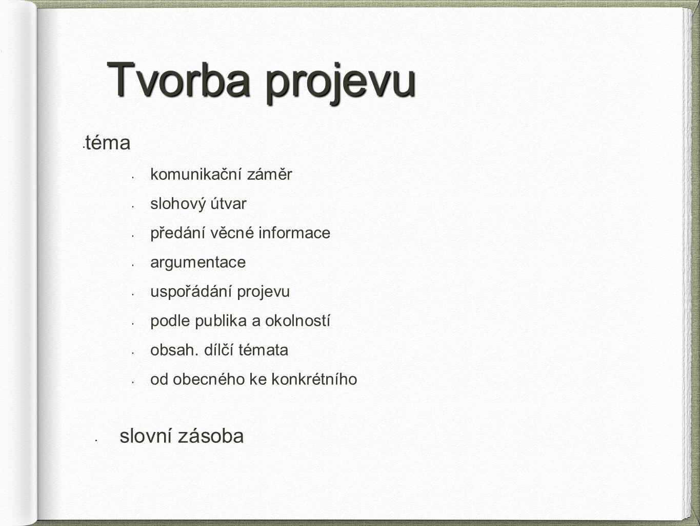 Tvorba projevu téma slovní zásoba komunikační záměr slohový útvar