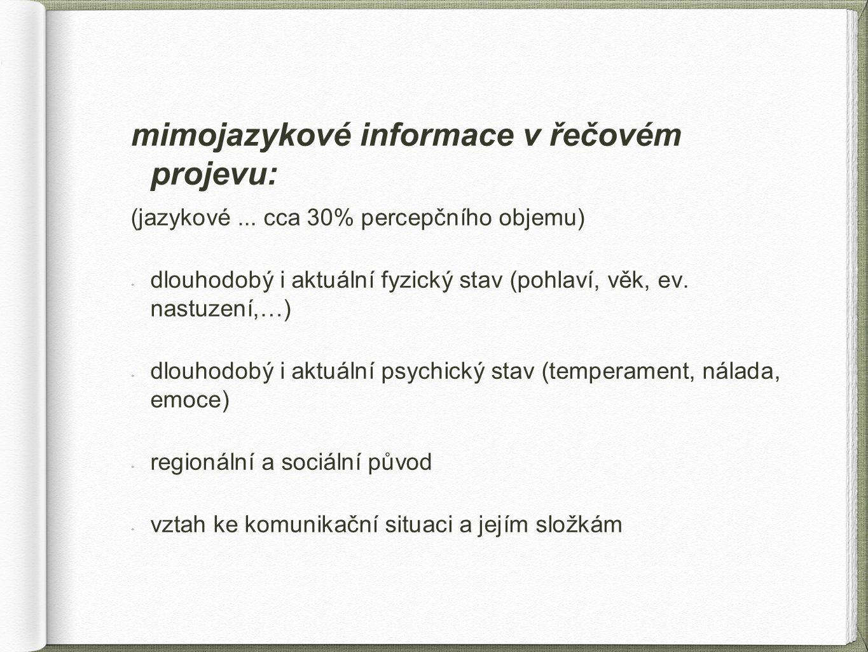 mimojazykové informace v řečovém projevu: