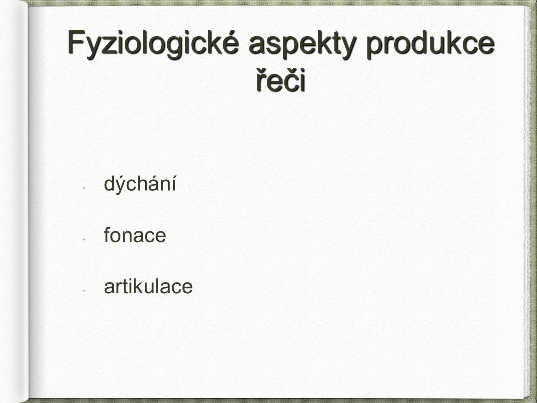 Fyziologické aspekty produkce řeči