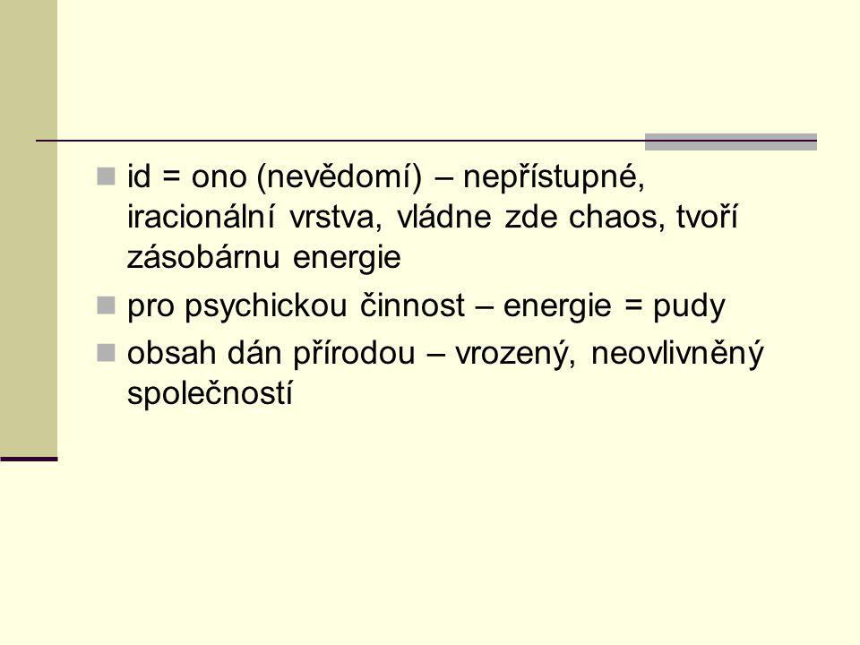 id = ono (nevědomí) – nepřístupné, iracionální vrstva, vládne zde chaos, tvoří zásobárnu energie