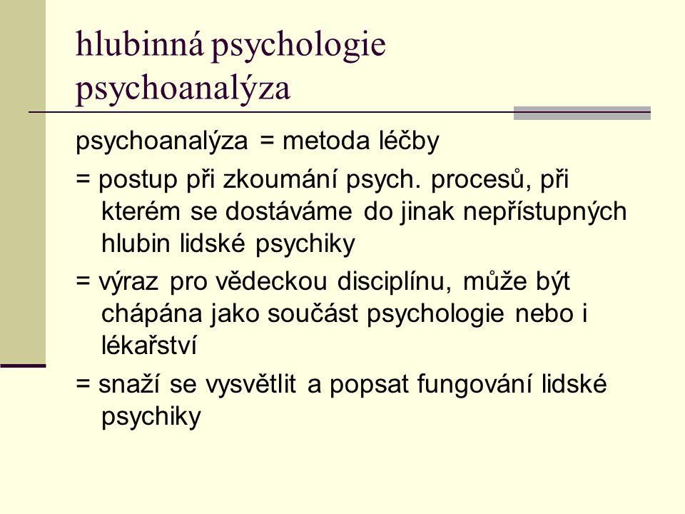 hlubinná psychologie psychoanalýza