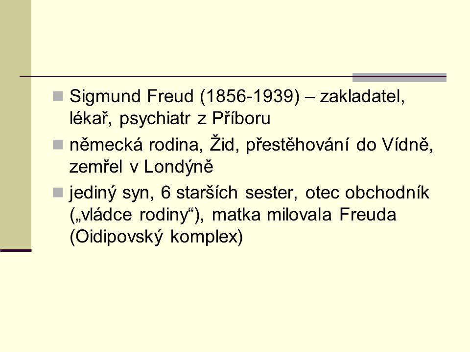 Sigmund Freud (1856-1939) – zakladatel, lékař, psychiatr z Příboru