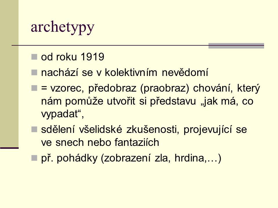 archetypy od roku 1919 nachází se v kolektivním nevědomí