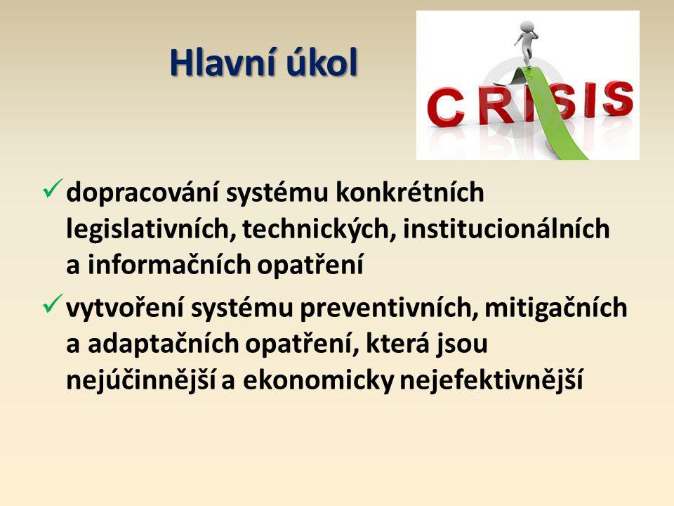 Hlavní úkol dopracování systému konkrétních legislativních, technických, institucionálních a informačních opatření.