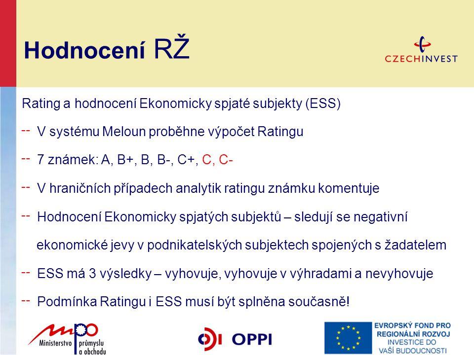 Hodnocení RŽ Rating a hodnocení Ekonomicky spjaté subjekty (ESS)