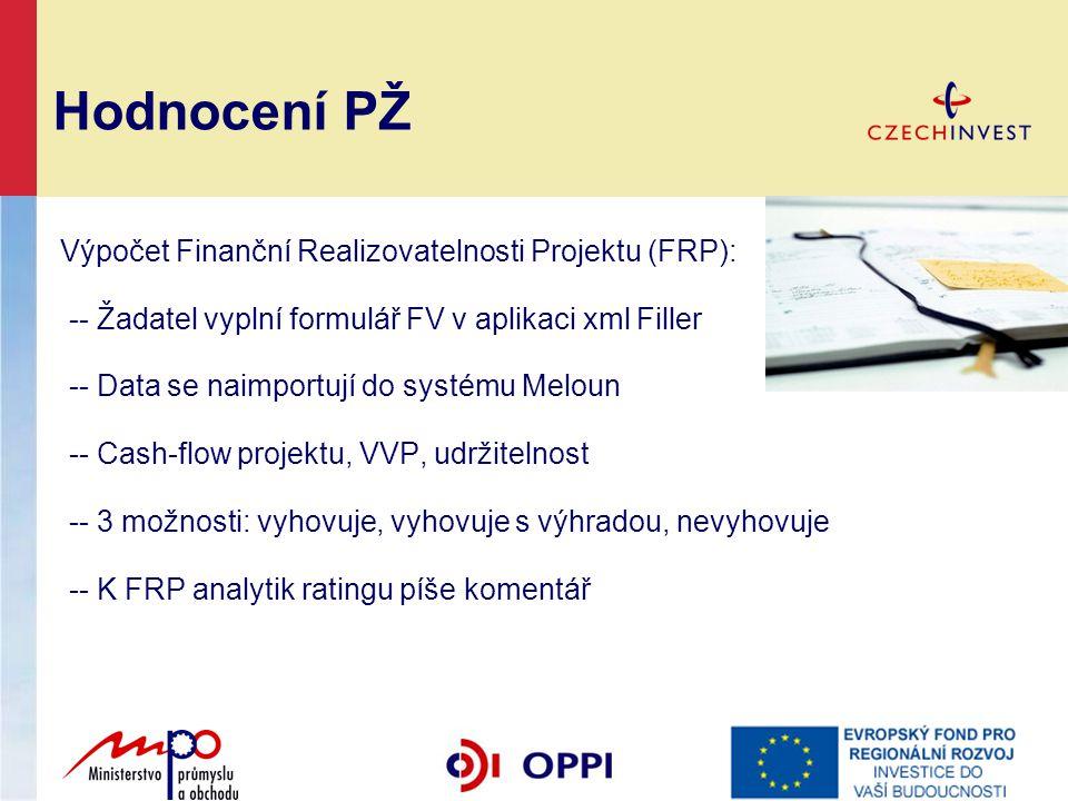 Hodnocení PŽ Výpočet Finanční Realizovatelnosti Projektu (FRP):