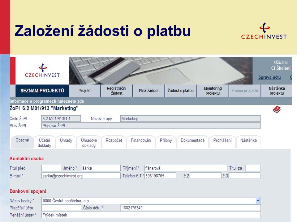 Založení žádosti o platbu