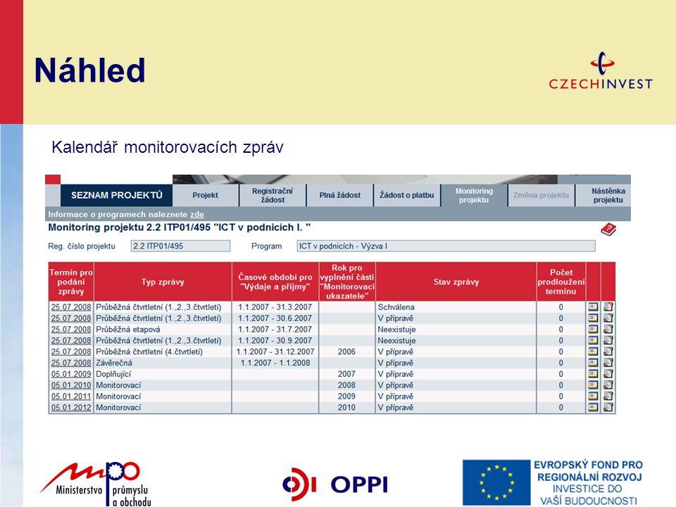 Náhled Kalendář monitorovacích zpráv