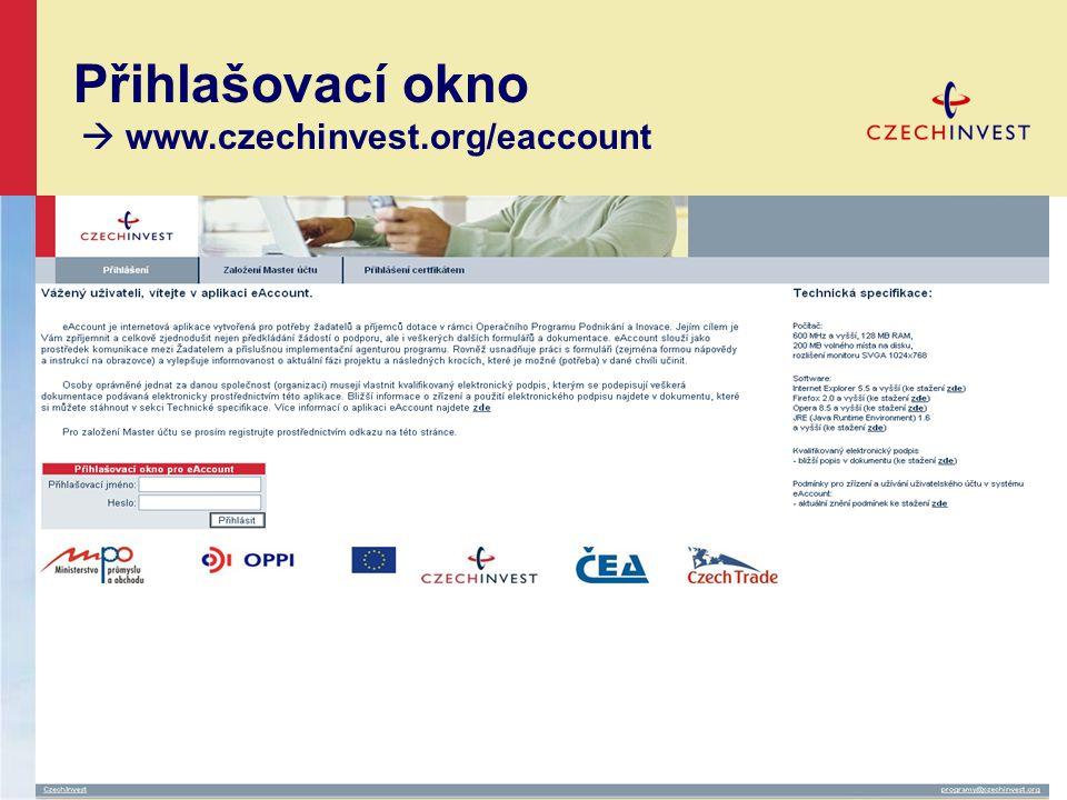 Přihlašovací okno  www.czechinvest.org/eaccount