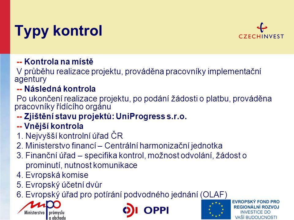 Typy kontrol -- Kontrola na místě