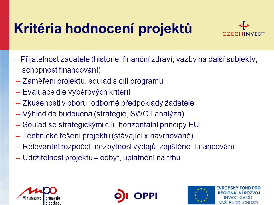Kritéria hodnocení projektů