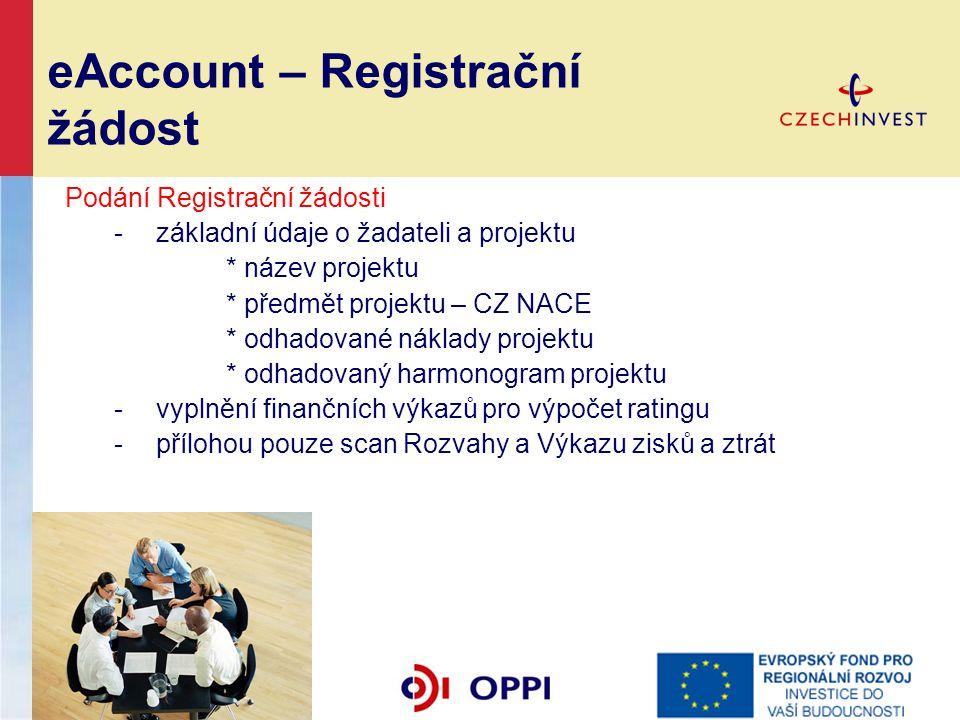 eAccount – Registrační žádost