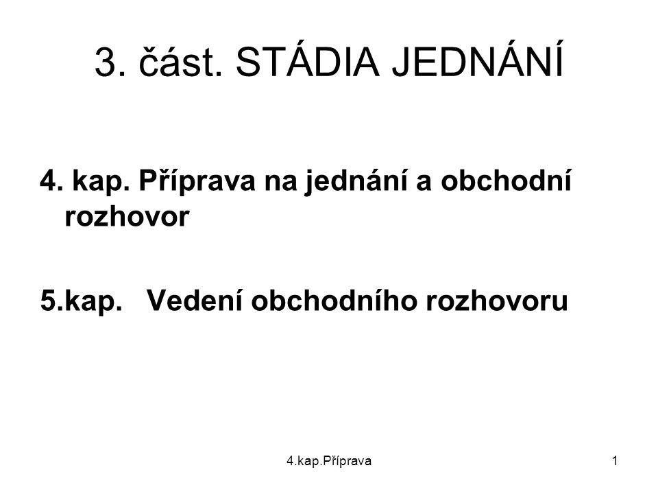 3. část. STÁDIA JEDNÁNÍ 4. kap. Příprava na jednání a obchodní rozhovor. 5.kap. Vedení obchodního rozhovoru.