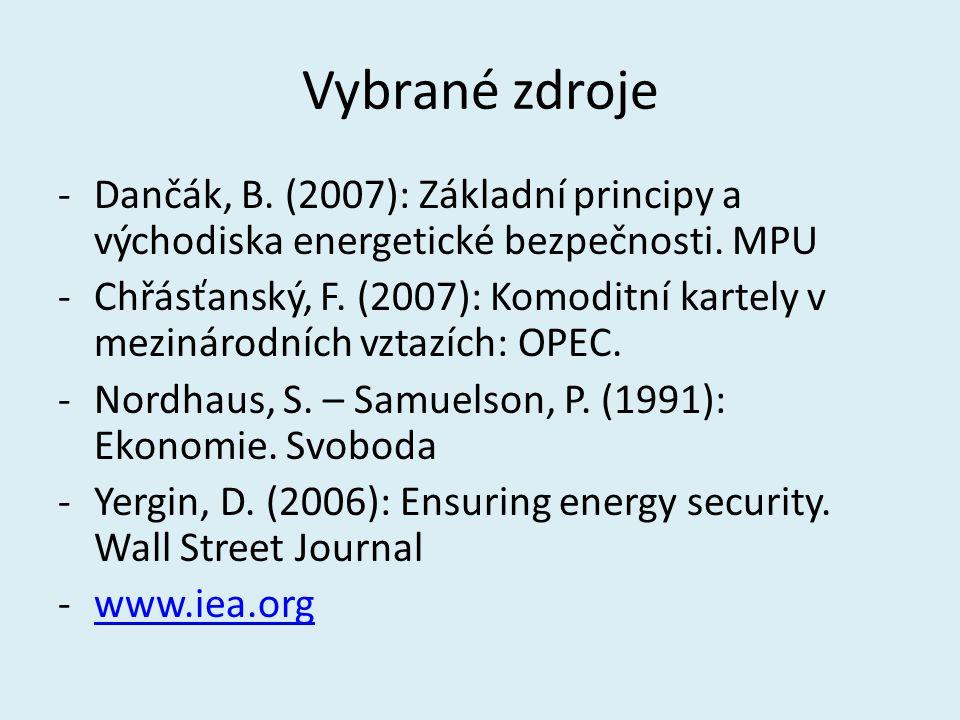 Vybrané zdroje Dančák, B. (2007): Základní principy a východiska energetické bezpečnosti. MPU.