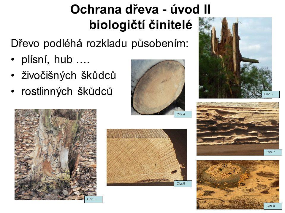 Ochrana dřeva - úvod II biologičtí činitelé