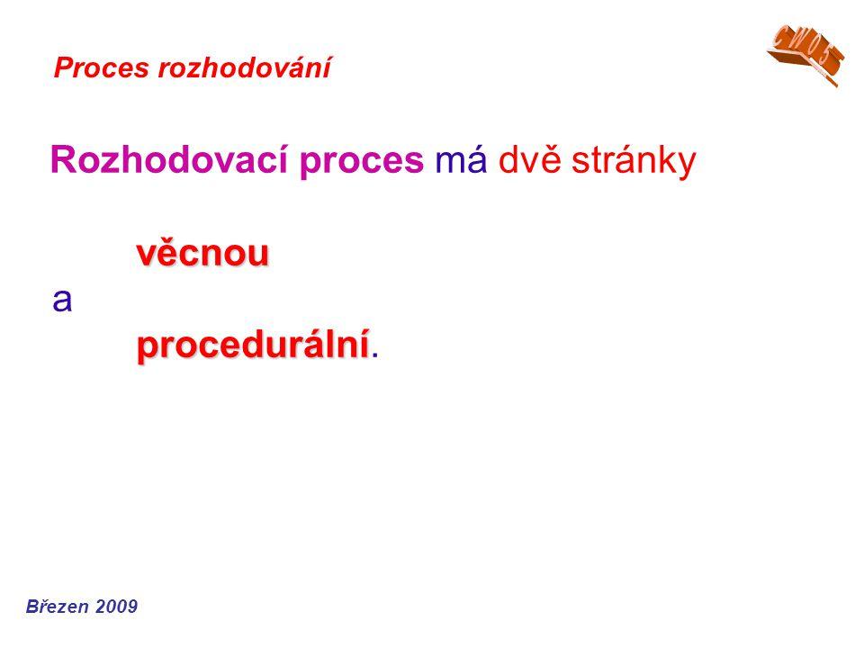 Rozhodovací proces má dvě stránky věcnou a procedurální.