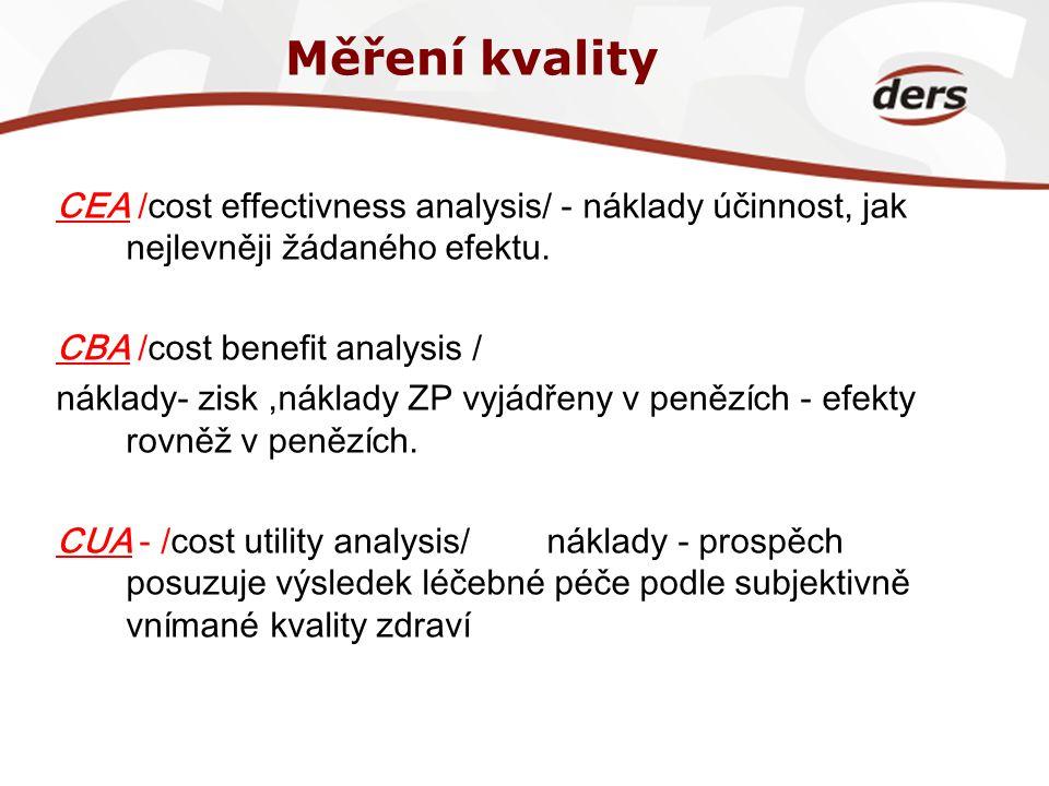 Měření kvality CEA /cost effectivness analysis/ - náklady účinnost, jak nejlevněji žádaného efektu.
