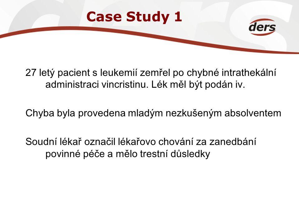 Case Study 1 27 letý pacient s leukemií zemřel po chybné intrathekální administraci vincristinu. Lék měl být podán iv.