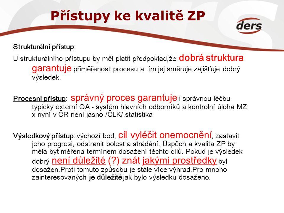 Přístupy ke kvalitě ZP Strukturální přístup: