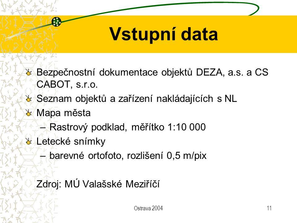 Vstupní data Bezpečnostní dokumentace objektů DEZA, a.s. a CS CABOT, s.r.o. Seznam objektů a zařízení nakládajících s NL.