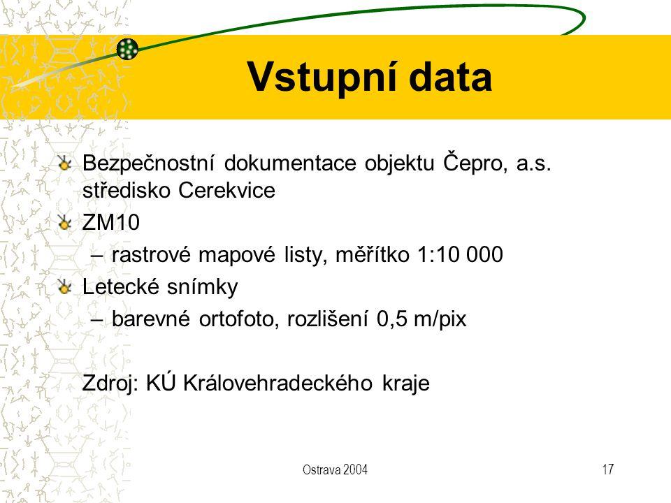 Vstupní data Bezpečnostní dokumentace objektu Čepro, a.s. středisko Cerekvice. ZM10. rastrové mapové listy, měřítko 1:10 000.