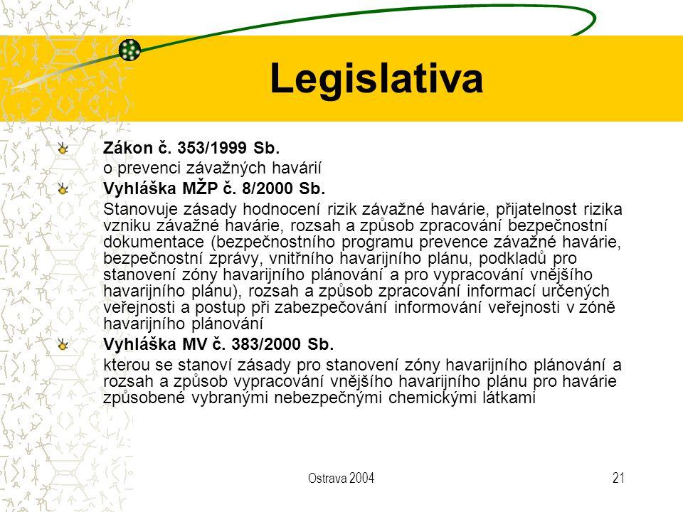 Legislativa Zákon č. 353/1999 Sb. o prevenci závažných havárií