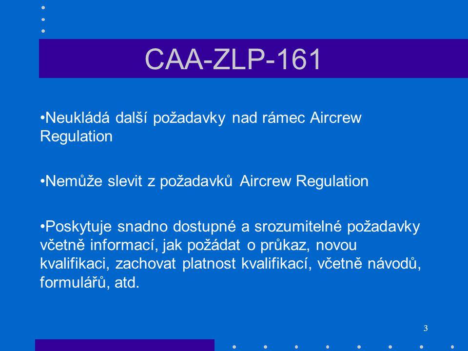 CAA-ZLP-161 Neukládá další požadavky nad rámec Aircrew Regulation