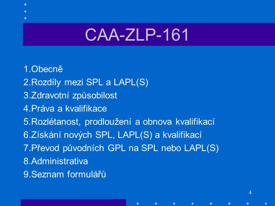 CAA-ZLP-161 Obecně Rozdíly mezi SPL a LAPL(S) Zdravotní způsobilost