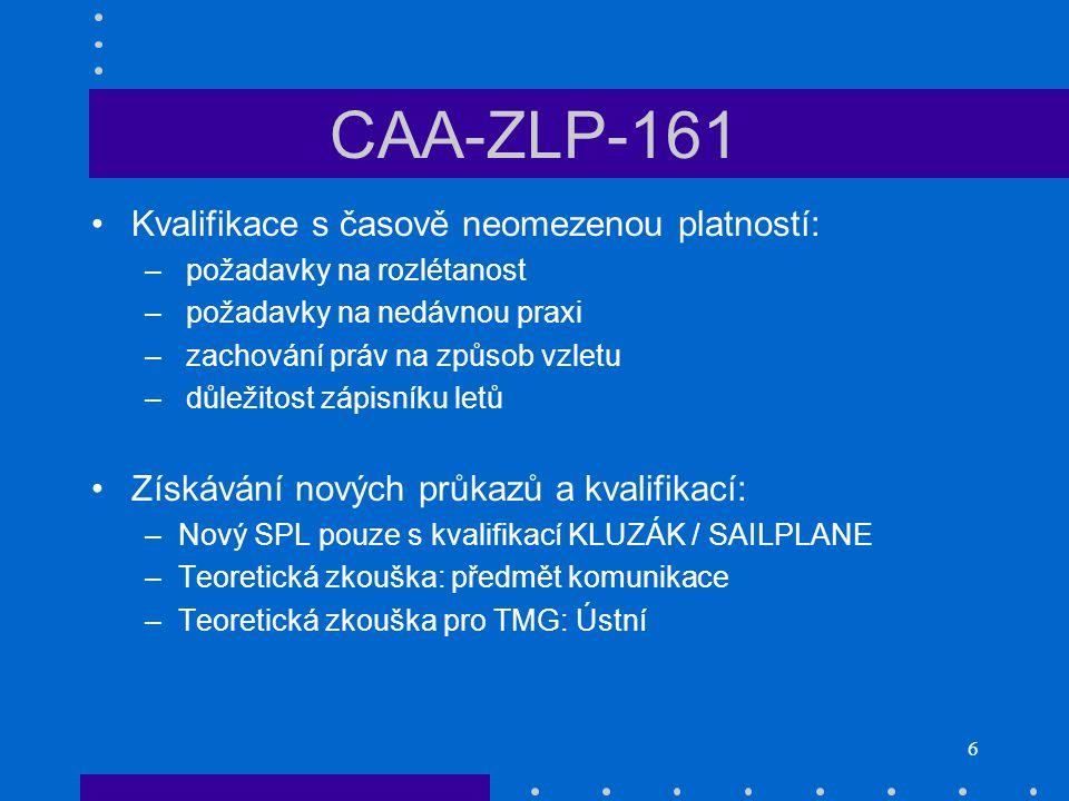 CAA-ZLP-161 Kvalifikace s časově neomezenou platností: