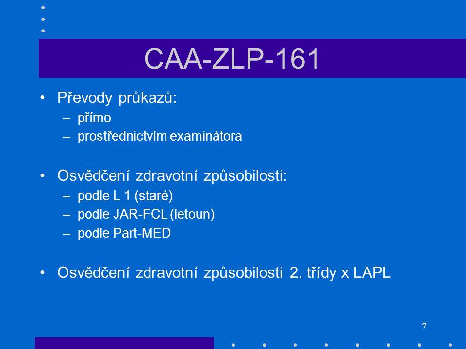CAA-ZLP-161 Převody průkazů: Osvědčení zdravotní způsobilosti:
