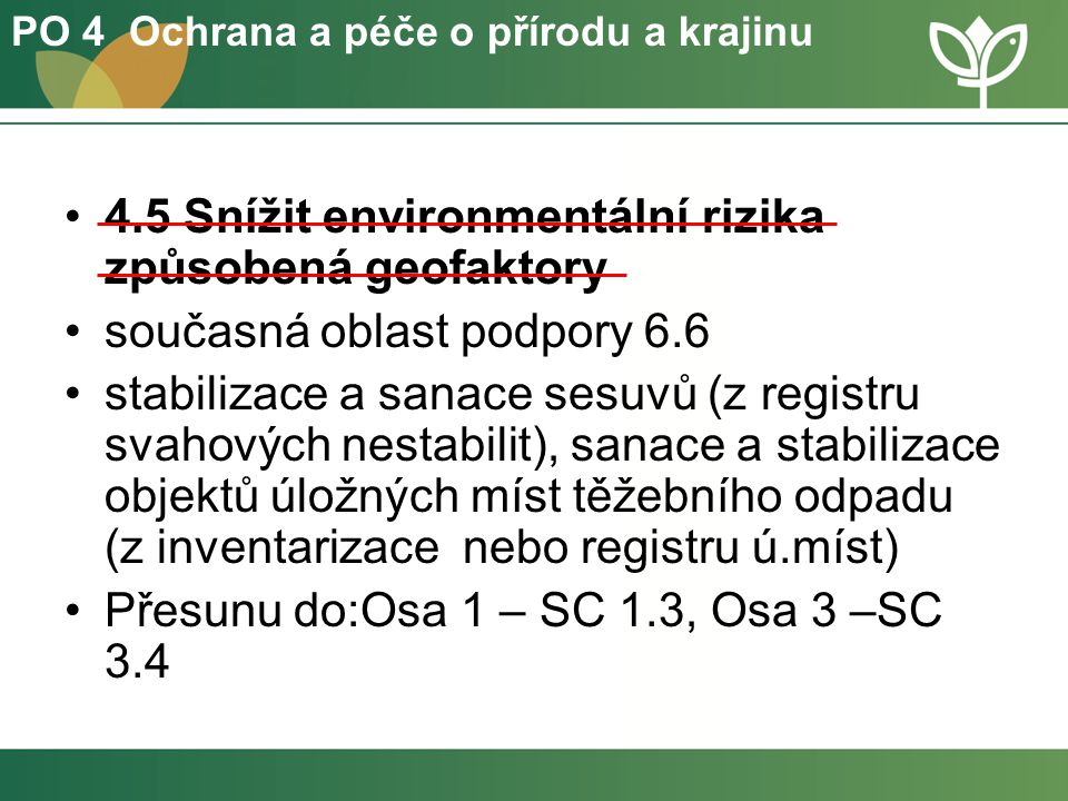 4.5 Snížit environmentální rizika způsobená geofaktory