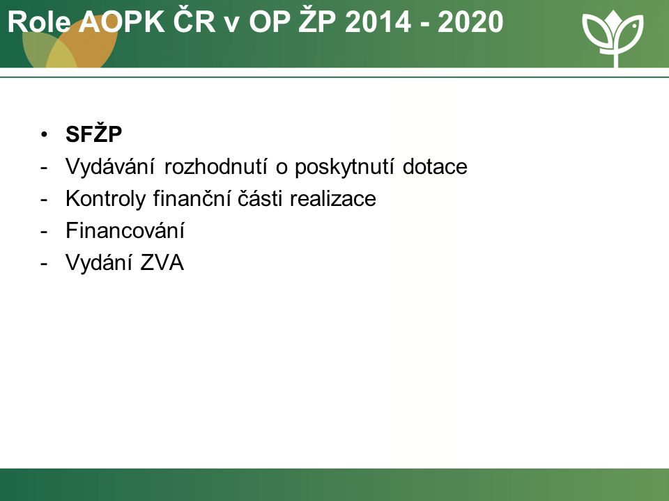 Role AOPK ČR v OP ŽP 2014 - 2020 SFŽP