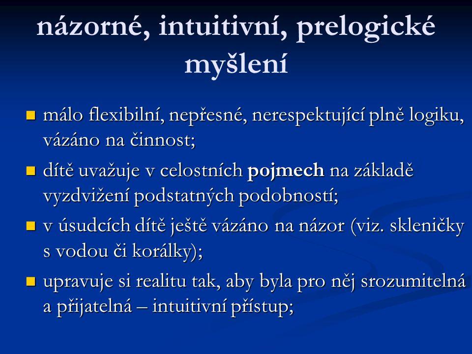 názorné, intuitivní, prelogické myšlení