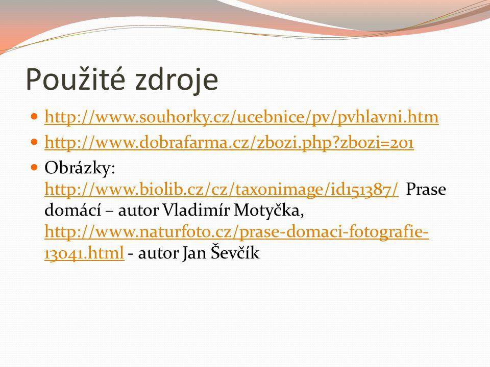 Použité zdroje http://www.souhorky.cz/ucebnice/pv/pvhlavni.htm