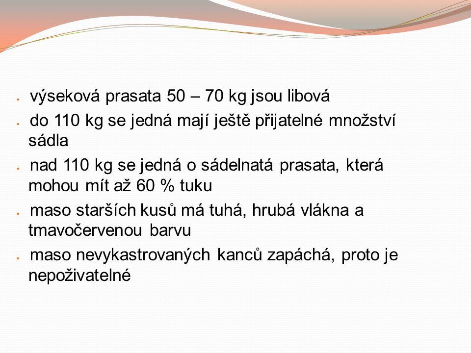 výseková prasata 50 – 70 kg jsou libová