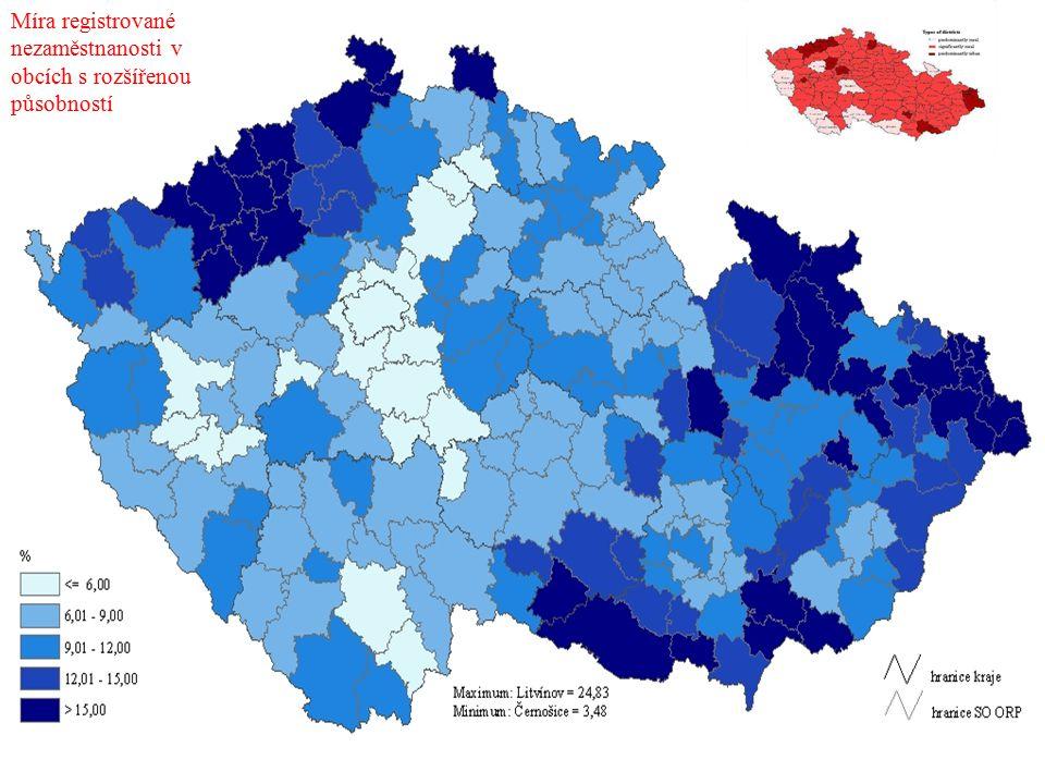 Míra registrované nezaměstnanosti v obcích s rozšířenou působností