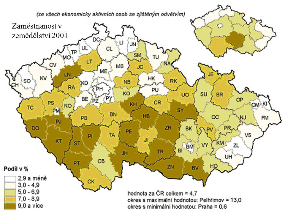 Zaměstnanost v zemědělství 2001